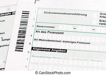 forma imposto, -, einkommensteuererklaerung, alemão