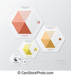 forma, infographic, diseño, plantilla, geométrico, hexágono