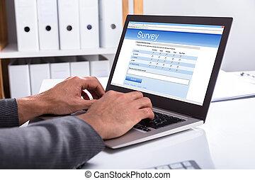 forma, laptop, ripieno, businessperson, esame, linea