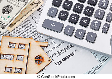 forma, madeira, dinheiro, calculadora, imposto, fundo, casa