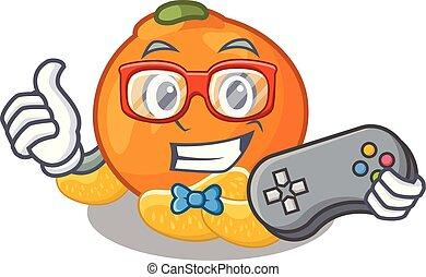 forma, mandarino, gamer, mascotte