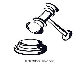 forma, martillo, juez, vector, bosquejo
