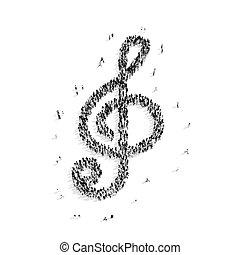 forma, musical, tecla, pessoas