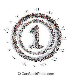 forma, número, Uno, gente