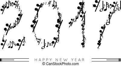 forma, note, numeri, anno, 2017, musicale