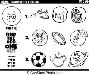 forma, objetos, educativo, círculo, juego, niños, libro colorear