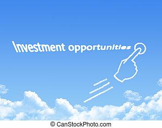forma, opportunità, messaggio, nuvola, investimento