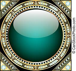 forma, oro, modello, illustrazione, vetro, fondo, pietre, ...