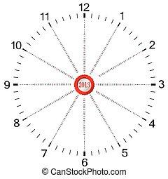 forma, orologio, quattro, anno, calendario, 2013