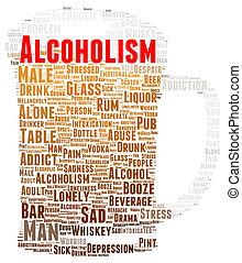 forma, palabra, alcoholismo, nube