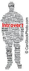 forma, palabra, introvertido, nube
