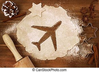 forma, pasta, taglio, biscotto, (series), aeroplano