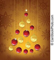 forma, pelotas, árbol, tarjeta de navidad