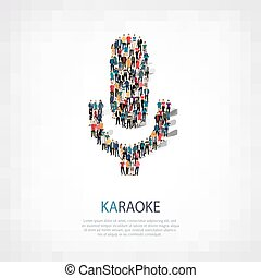 forma, persone, microfono, karaoke