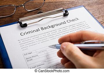 forma, pessoa, aplicação, enchimento, fundo, criminal, cheque