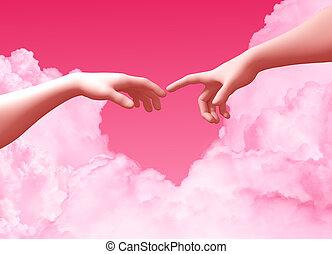 forma, plano de fondo, corazón, dos manos, crear, nubes, ...