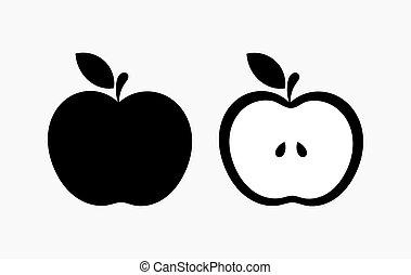 forma, pretas, maçã, ícones
