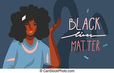forma, resumen, gráfico, joven, vector, norteamericano, aislado, vidas, plano de fondo, ilustración, asunto, negro, mano, mujer, letras, collage, afro, dibujado, color, acción, belleza