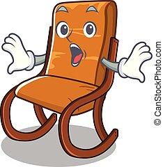 forma, sedia, oscillante, cartone animato, sorpreso