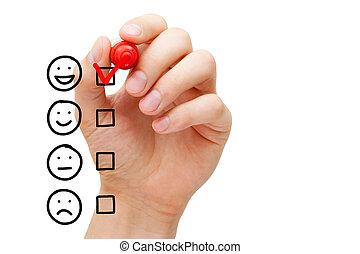 forma, servicio, impresionante, evaluación, cliente