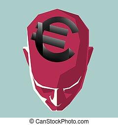 forma, simbolo, profondo, sopra, trap., testa, euro