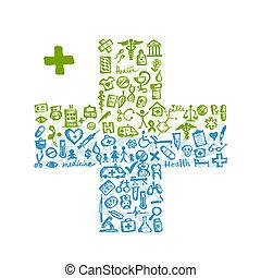 forma transversal, com, ícones médicos, para, seu, desenho