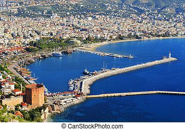forma, turco, porto, riviera, peninsula., alanya, vista