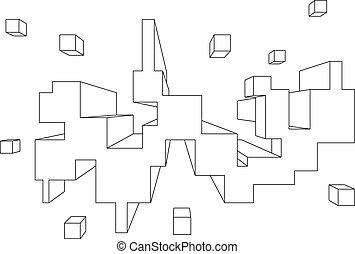 forma, Uno,  rectangular, perspectiva, punto