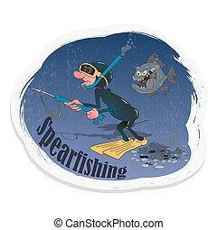 forma, vector, sticker., arma de fuego, buzo, ilustración, spearfishing., color