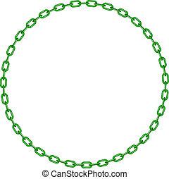 forma, verde, círculo, cadena