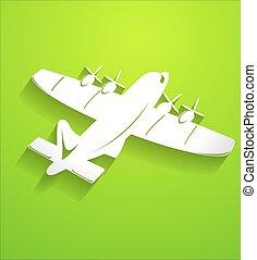 forma, vetorial, avião, ar