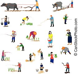forma, vetorial, desenho, agricultor