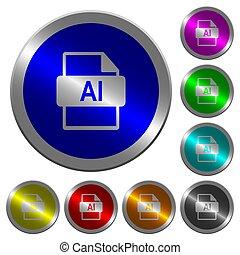 formaat, ai, knopen, kleur, bestand, coin-like, lichtgevend, ronde