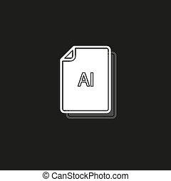 formaat, ai, symbool, -, vector, bestand, downloaden, document, pictogram
