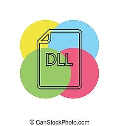 formaat, -, dll, vector, bestand, downloaden, document, pictogram