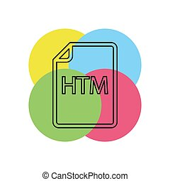 formaat, htm, -, vector, bestand, downloaden, document, pictogram