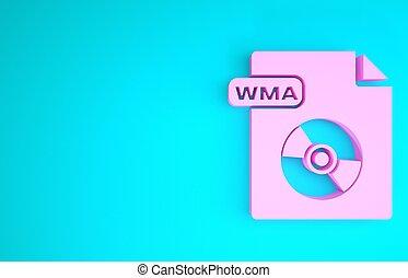 formaat, render, wma, concept., 3d, document., blauwe , pictogram, teken., muziek, roze, minimalism, downloaden, vrijstaand, bestand, achtergrond., knoop, illustratie, symbool.