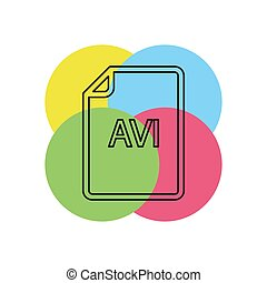 formaat, -, vector, avi, bestand, downloaden, document, pictogram