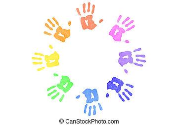 formación, círculo, handprints, multicolor