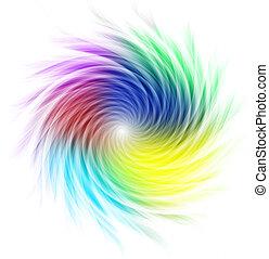 formación, espiral, curvas, multicolor