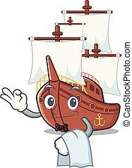 formado, camarero, juguetes, barco, pirata, mascota