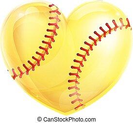 formado, corazón, sofbol