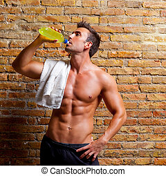 formado, gimnasio, bebida, músculo, relajado, hombre