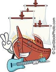 formado, guitarra, juguetes, barco, pirata, mascota
