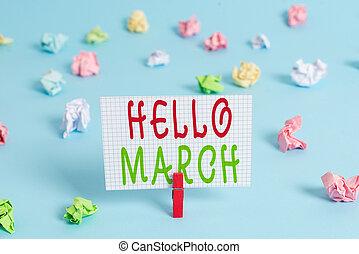 formado, showcasing, composición, clothespin, mano, march.,...