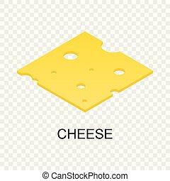 formaggio affettato, icona, isometrico, stile