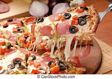 formaggio, alzato, fetta, delizioso, ingredienti, supremo, prossimo, pieno, forno, fibroso, fresco, pizza, cotto, fuori