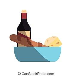 formaggio, bread, vino