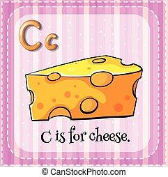 formaggio, c, lettera, flashcard