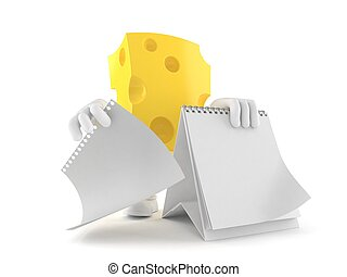formaggio, calendario, carattere, vuoto